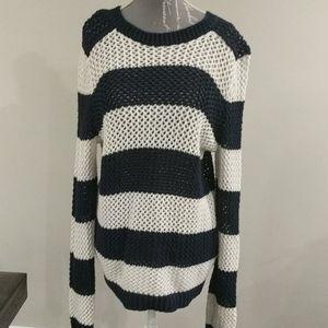 Joe Fresh Navy and white striped knit sweater